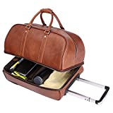 Leathario Men's Leather Luggage Wheeled Duffle, Leather Travel Bag