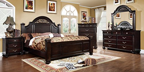 - 5 Pc. Syracuse Dark Walnut Finish Classic Style Oval Headboard Poster Bed Queen Bed Set
