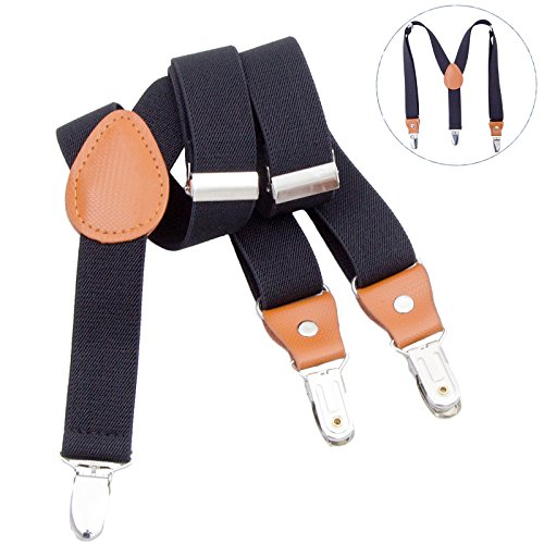 - Toddlers Kids Boys Mens Suspenders - Y Back Adjustable Strong Clips Synthetic Leather Suspenders (31.5-33.5 Inch (8 Years - 5 Feet Tall), Black)