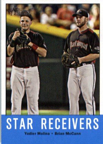 Brian Mccann Braves (2012 Topps Heritage Baseball Card #306 Yadier Molina / Brian McCann - Cardinals / Braves (Star Receivers))