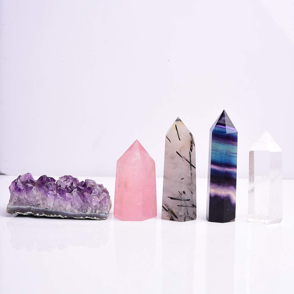 Runyangshi Natural Healing Crystals Gift Kit Set of 5, Including Amethyst Cluster, Rainbow Fluorite/Black Quartz Rutilated/Clear Quartz/Rose Quartz Crystal Wands Points Tower