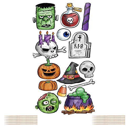 Cake Decorations For Halloween (Halloween Cupcake Toppers, Toothpicks Flags Skull Pumpkin Zombie Ghost Witch Food Picks Decor Fiesta Birthday Party Supplies Cake Decorations 14)