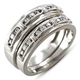 TVS-JEWELS New Solid Pure Sterling Silver White Plated Couple Design Men's & Women's Wedding Ring