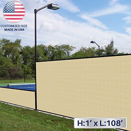 Windscreen4less 1' x 108' Solid Beige Fence Privacy Screen Commercial-Grade Solid Vinyl 100% Privacy Blockage (480GSM) -3 Year Limited Warranty 1' X 108' Roll