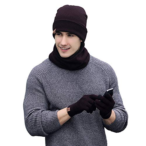 Neonr Winter Knitted Hat Scarf Gloves Three Sets for Men and Women,3 Pieces - http://coolthings.us