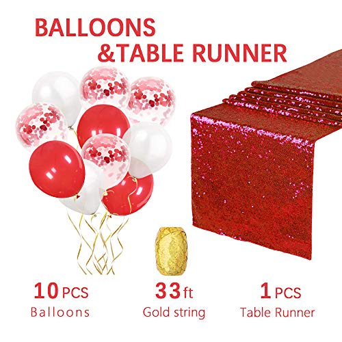 12 by 108-Inch Wedding Sequin Table Runner Glitter 1 piece Red Sequin Linens fabric Confetti Balloons Red Latex Balloons for Wedding Banquet Party Decoration]()