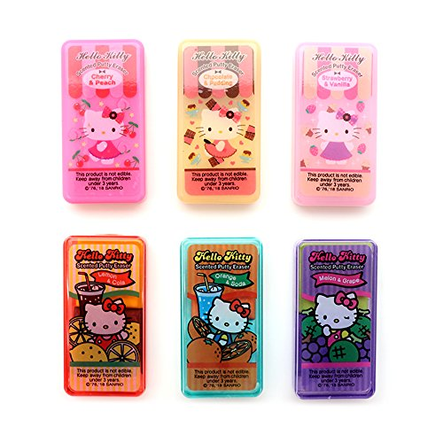 NEW Sanrio Hello Kitty Scented Putty Erasers : 6 Erasers (Total of 12 Scents) by Putty Erasers