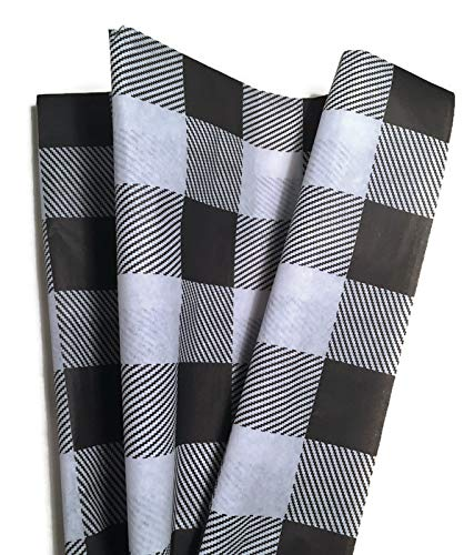 Lumberjack Tissue Paper: Black Buffalo Plaid Tissue Paper for Christmas Gift Wrapping, 24 Large Sheets, 20x30, White and Black Buffalo Check