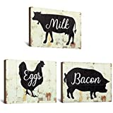 Jetec 3 Pieces Farmhouse Kitchen Signs Cow Rooster