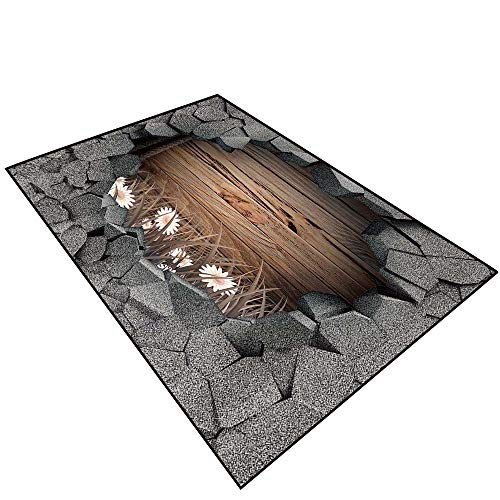 Anti-Slip Area Rug Floor 3D Effect Trap.Dark Cracked Broken Hole in Concrete Wall.Antique Old Planks American Style Western Rustic Wooden and White dai Skid Resistant Kids Home Decoration