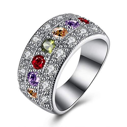 Shiny Rhinestones Women Oval Finger Ring Wedding Engagement Promise Jewelry Gift lady Platinum Plated Ring Triple Rows Zircon Decor (Platinum Set Wedding Jewelry)