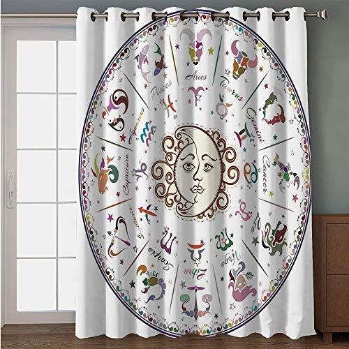 - iPrint Blackout Patio Door Curtain,Zodiac Decor,Astrology Map with Descriptions Forecast for Person Future Birth Natal Earth Theme,Multi,for Sliding & Patio Doors, 102