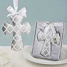 Silver Hampton Link Design Cross Ornament In A Box , 18