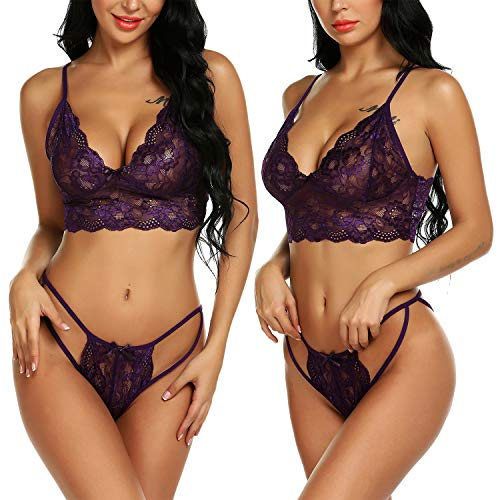 Mesh Bridal Set - Avrilove Women's Sexy Bridal Lingerie Set Floral Lace Strappy Babydoll with Cute Bowknot Mesh Thong (PU, L)