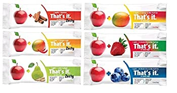 That's it Zesty Variety, Pack of 12, (2 Apple+Blueberry, 2 Apple+Strawberry, 2 Apple+Mango, 2 Apple+Pear&Ginger, 2 Apple+Mangoes&Chili, 2 Apple+Cinnamon)