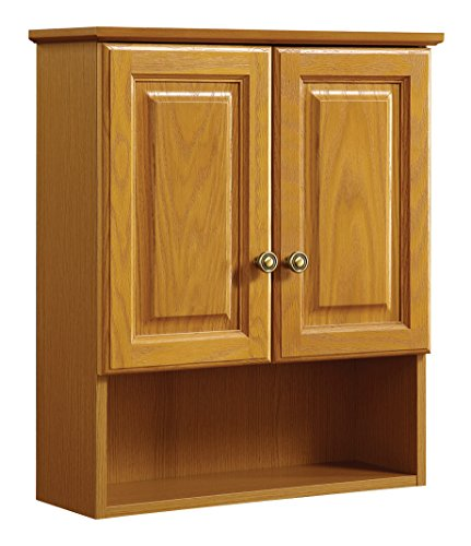 - Design House 531962 21-Inch by 26-Inch Claremont Ready-To-Assemble 2 Door Bathroom Wall Cabinet, Honey Oak