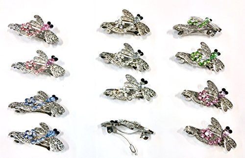 12 Pieces Set Dragonfly Style Crystal Barrette With Silver Metal Clip 5 Different Crystar - Barrette Crystal Dragonfly