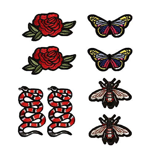 SOUTHYU 8 Pack Iron On/Sew On Patches Decorative Motif Appliques Embroidered Butterfly Bee Flower Snake Repairing Badge for DIY Clothing Jeans Jacket Backpack Hat (Snake Patch Back)