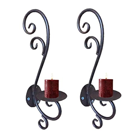2Pcs/lot Iron Candle Holder Wall Art Candle Hanging Candle Holder ...