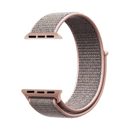 Price comparison product image Qifit New Nylon Sport Loop with Hook and Loop Fastener Adjustable Closure Wrist Strap Replacment Band for iwatch Apple Watch Series 1 /2 / 3,42mm,Pink Sand
