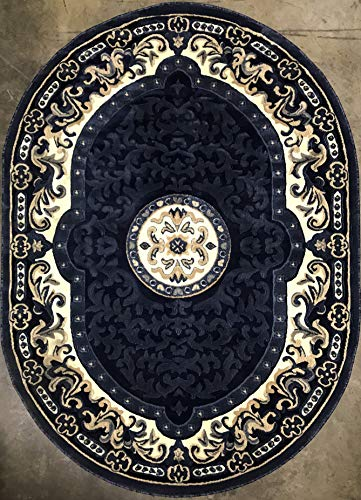 Rugs Oval Small (Traditional Oval Persian Area Rug Dark Blue Beige Carpet King Design 101 (5 Feet 2 Inch X 7 Feet 3 Inch))