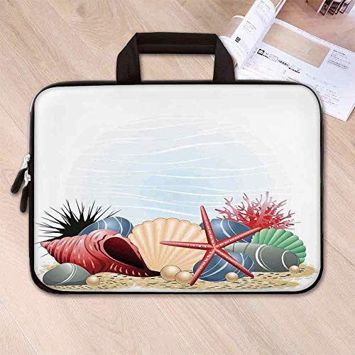 (Pearls Decor Neoprene Laptop Bag,Seashells Starfish and Coral Underwater Sea Life Seaside Art Prints Decorative for Business Casual or School,12.6''L x 9.4''W x 0.8''H)