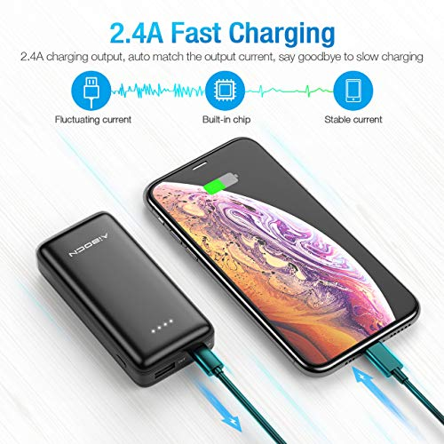 Aibocn Power Bank Smaller & Lighter, 2.4A Charging Tech External Backup Portable Travel Charger for Phones Tablet