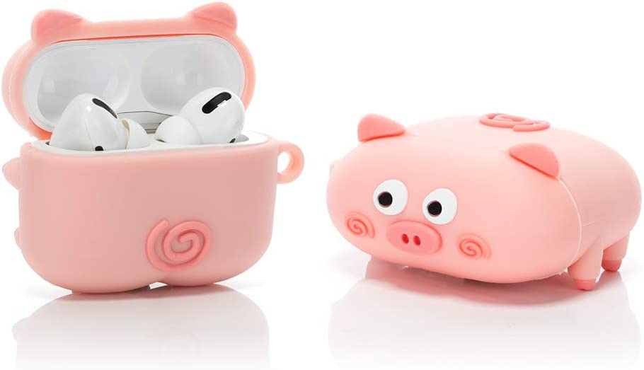 LEWOTE Airpods Pro Silicone Case Funny Cute Cover Compatible for Apple Airpods Pro[PAPA Animal Pet Design][Best Gift for Kids Friends Boys Girls] (Pink Pig)