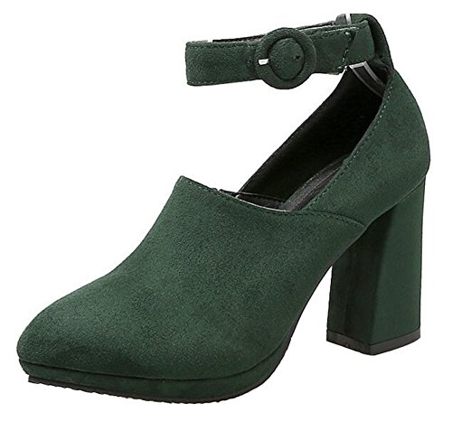 CHFSO Womens Fashion Solid Suede Buckle Ankle Strap Pointed Toe High Block Heel Platform Dress Pumps Shoes Green NhTlNBoxX