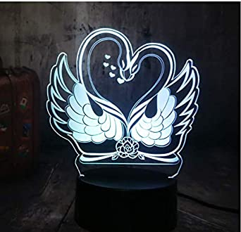 Colorida Luz Nocturna 3D Romantic Two Love Swan Led Usb Escritorio Lámpara Para Dormir Inicio Navidad Pareja Amante Novia Regalo De Cumpleaños Decoración Navidad Regalo De Cumpleaños