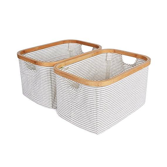 StorageWorks Cotton Storage Basket with Lid, Foldable Hamper Organizer, White with Black Stripe, Medium, 2-Pack... -  - living-room-decor, living-room, baskets-storage - 515PR2cZneL. SS570  -