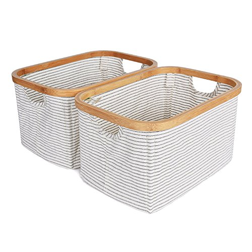 StorageWorks Canvas & Bamboo Storage Basket With Bamboo Handles, Foldable Organizer, Square Storage Bin By, Medium, White with Black Stripe, 15.0x10.2x8.3 inches, 2-Pack Bamboo Canvas