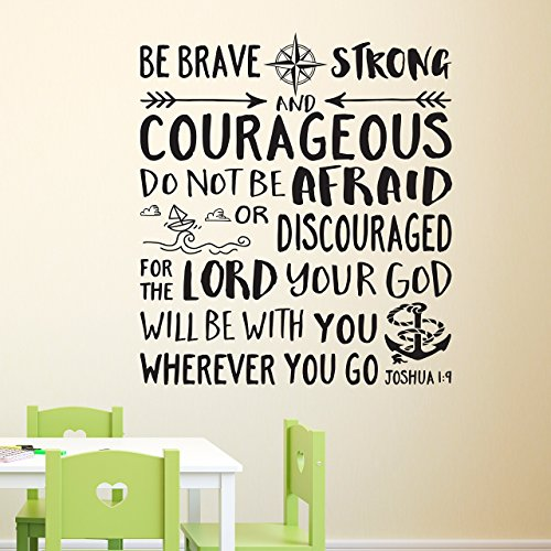 Joshua 1:9 Vinyl Wall Decal 35 by Wild Eyes Signs Be Brave Strong and Courageous, Nautical, Explorer Nursery, Arrows, Lighthouse, Waves, Boat, Anchor, Compass Rose, JOS1V9-0035 ()
