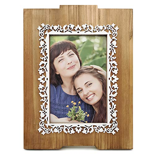 (Eosglac Wooden 4x6 Picture Frame with White Flower Pattern, Photo Frame Tabletop or Wall Display Mothers Gifts)