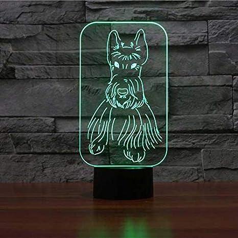 Novedad Scottish Terrier Forma Lámpara de Mesa 3D LED Colorido ...