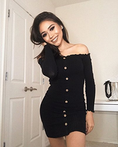 Women's Stretchy Knitted Sexy Long Mini Bodycon Off Sweater Button Sleeve Dress Ruffle Club Shoulder Black Tomblin dfCwUqf