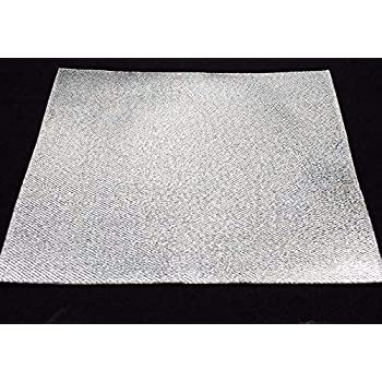Aluminum Heat Shield Protection with Fiberglass and Self-Adhesive Backing Heat Barrier 2 Sq Feet (12x24 Inch)
