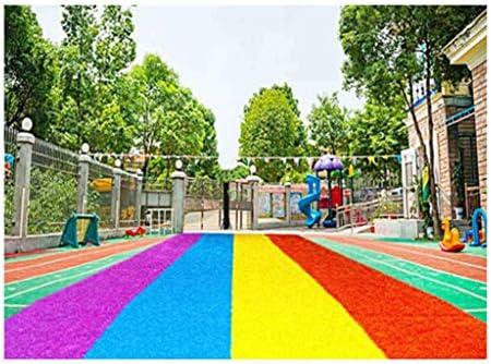 PING- 人工芝、 パイル高さ20mm 赤、黄、青、紫の4色の幼稚園の人工芝カーペット 屋外装飾レインボー芝生 5サイズ (Color : 2×1m)