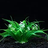 OWIKAR Aquarium Decorations Plants Plastic Green Fish Tank Decor Grass With White Flower Artificial Landscape Ornaments 7.1inch Height Medium Size