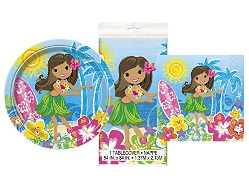 Hula Girl Luau Party Place Setting for 16 Plates Napkins & Table Cover (Napkin Setting Place)