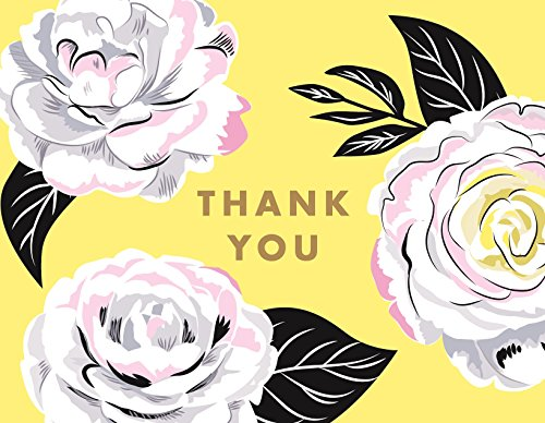 Waste Not Paper, Thank You Greeting Card with Envelope, Camellia Foil, 4.25