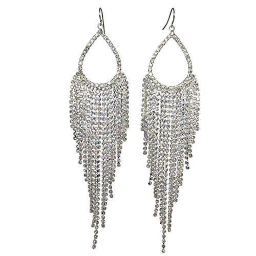Super Long Rhinestone Teardrop Fringe Prom Formal Open Dangle Earrings