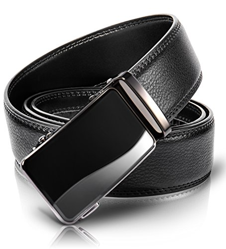 Bang Shong Men's Sliding Adjustable Comfort Holeless Leather Click Belt with Regular...