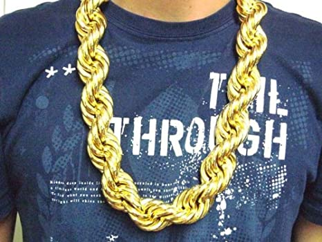 Amazon.com  Hip Hop Gold Heavy Plated Fat Rope Chain 30mm Run DMC  Clothing 1d0b1ed50987