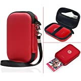 Travel Case for Polaroid ZIP Mobile Printer and HP Sprocket Portable Photo Printer and other similar size Portable Printer, with Pouch for Photo Paper and Cable (Polyester Red)