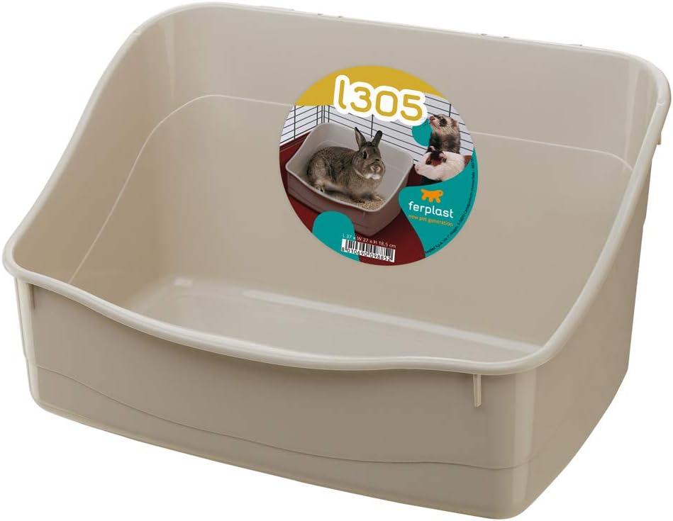 Ferplast Bandeja Sanitaria para Conejos L 305, Aseo para jaulas de roedores, Conejos y pequeños Animales, Fácil de Limpiar e higiénica, 37 x 27 x h 18,5 cm Colores Mixtos