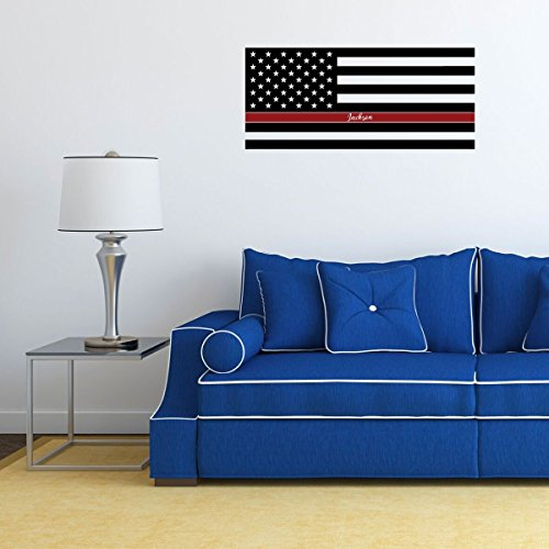 RED Line Flag Decal - Personalized United States Of America Decor - Patriotic Decoration for the Home, Office, Police Officer, Military or Classroom ()