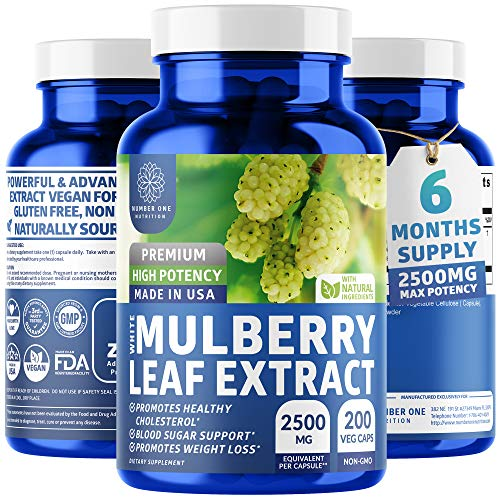 N1N White Mulberry Leaf Extract, [100% Pure, 6M's Supply], Premium Blood Sugar Control. Weight Loss, Appetite, Sugar…