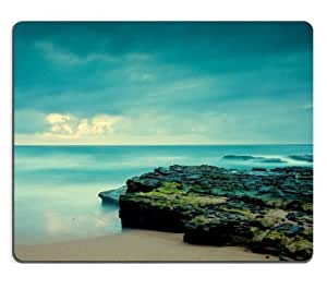 Ocean Sunrise Calm Shore Scenery Mouse Pads Customized Made to Order Support Ready 9 7/8 Inch (250mm) X 7 7/8 Inch (200mm) X 1/16 Inch (2mm) High Quality Eco Friendly Cloth with Neoprene Rubber Luxlady Mouse Pad Desktop Mousepad Laptop Mousepads Comfortable Computer Mouse Mat Cute Gaming Mouse pad