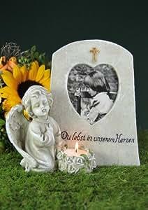 Lápida con ángel, marco de corazón y portavelas para luz de té